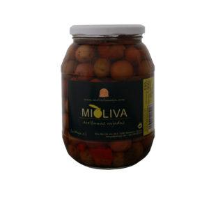 Aceitunas Rajadas Aliñadas, MIOLIVA, La Maja, Tarro Cristal 990g, Mendavia